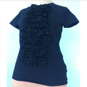 Ralph Lauren Womens Black Top Blouse Ruffle Silk M